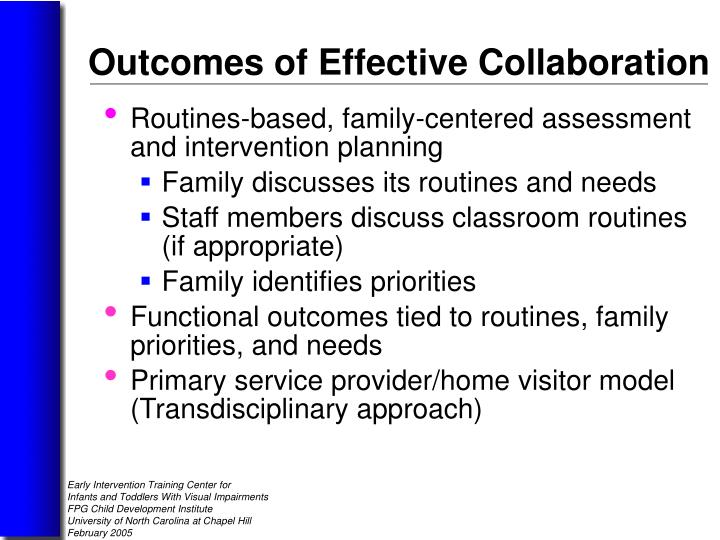 Routines-based, family-centered assessment and intervention planning