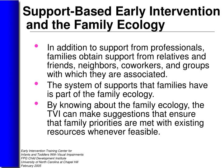 In addition to support from professionals, families obtain support from relatives and friends, neighbors, coworkers, and groups      with which they are associated.