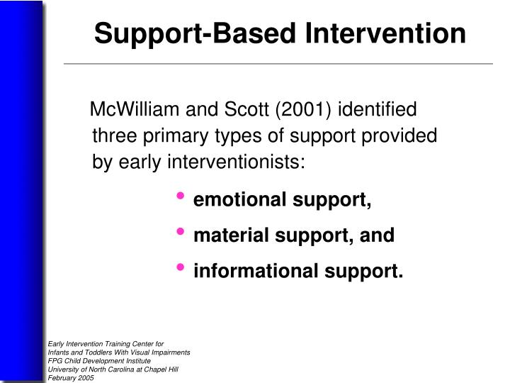McWilliam and Scott (2001) identified          three primary types of support provided       by early interventionists: