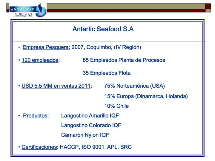 antartic seafood s a