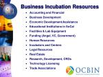 business incubation resources