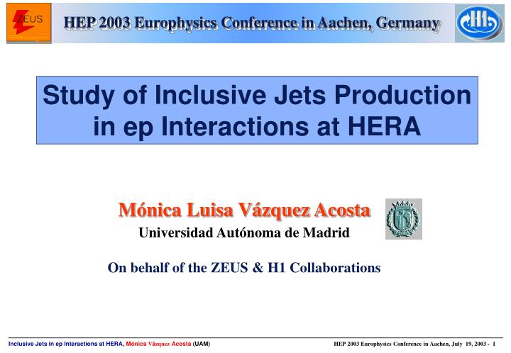 Hep 2003 europhysics conference in aachen germany