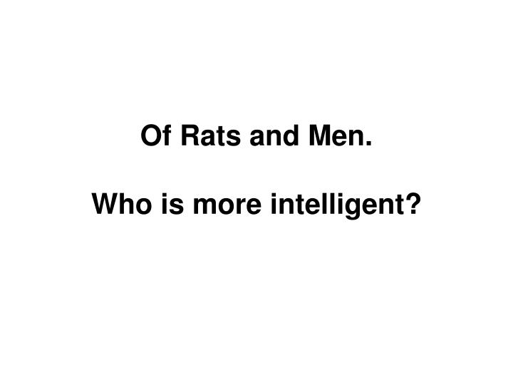 Of Rats and Men.