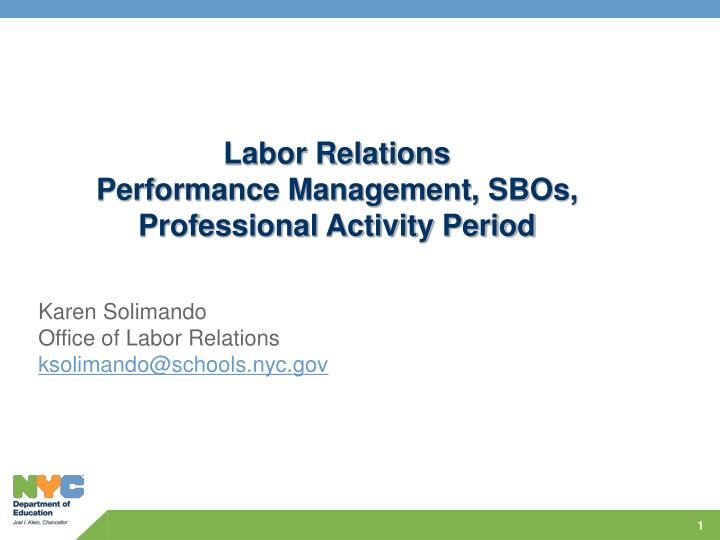 labor relations performance management sbos professional activity period n.