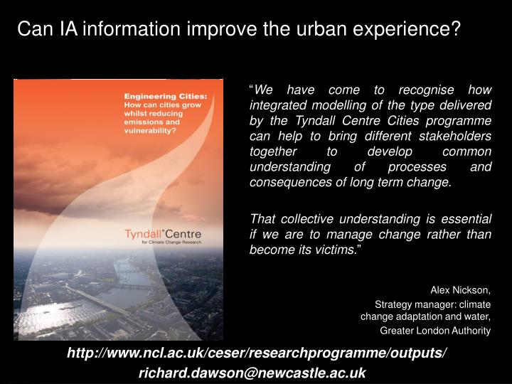 Can IA information improve the urban experience?
