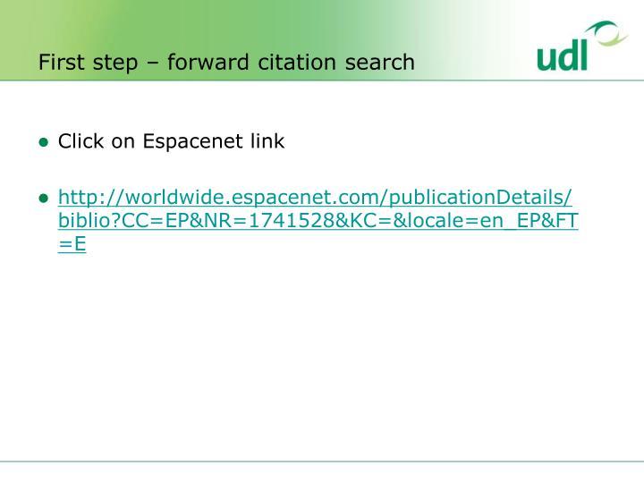 First step – forward citation search