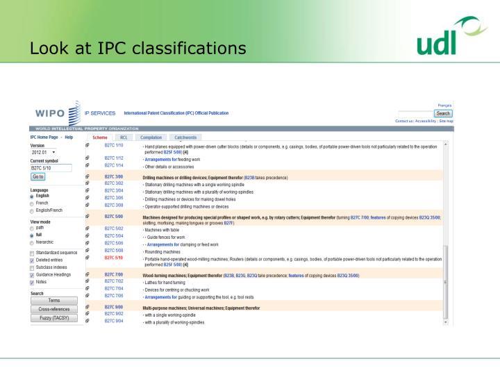 Look at IPC classifications