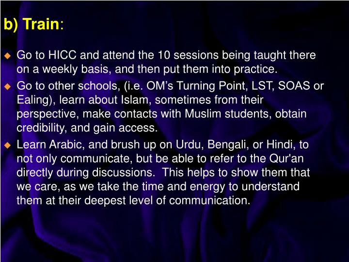 Go to HICC and attend the 10 sessions being taught there on a weekly basis, and then put them into practice.