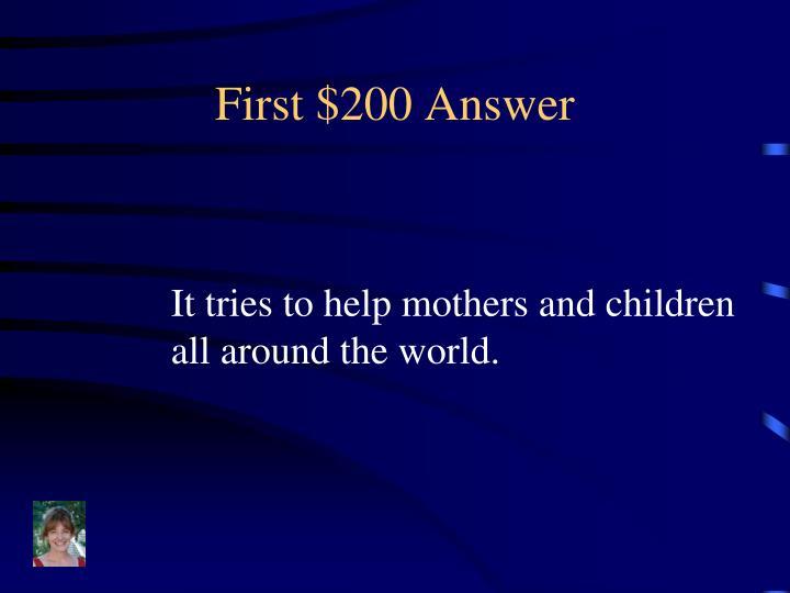 First $200 Answer