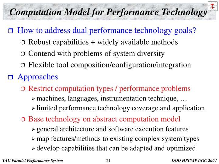 Computation Model for Performance Technology