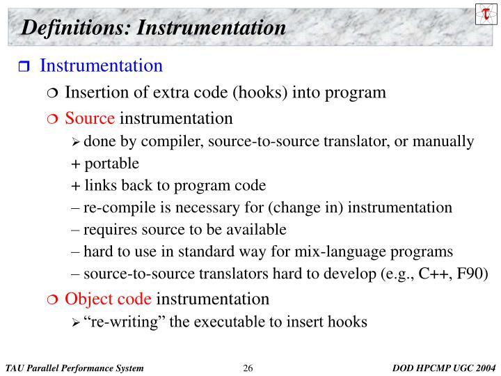 Definitions: Instrumentation