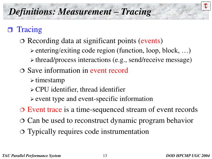 Definitions: Measurement – Tracing