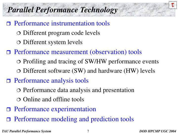Parallel Performance Technology