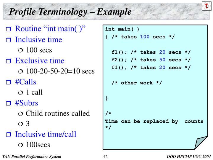 Profile Terminology – Example