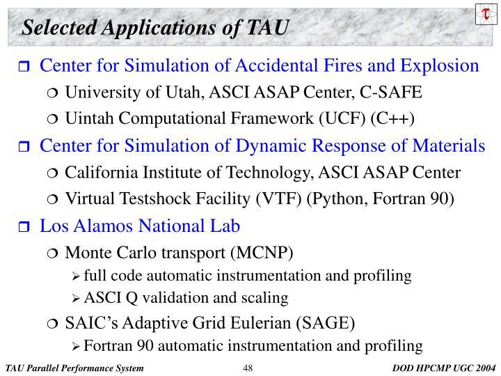 Selected Applications of TAU