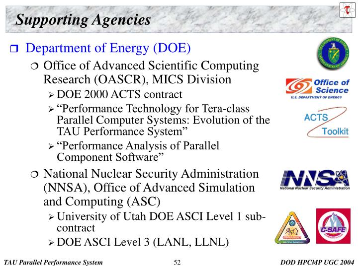 Supporting Agencies