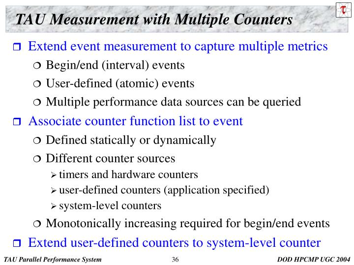 TAU Measurement with Multiple Counters
