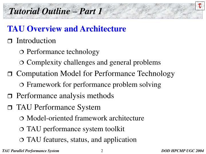 Tutorial outline part 1