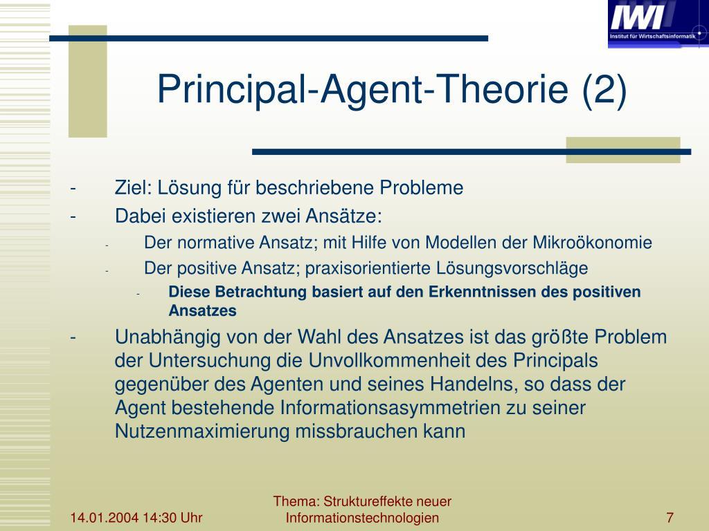 Prinzipal agent theorie beispiel