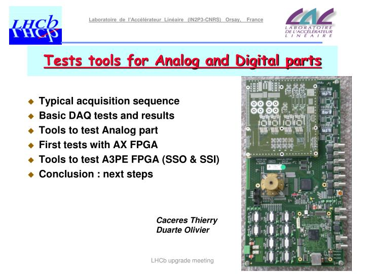 tests tools for analog and digital parts n.