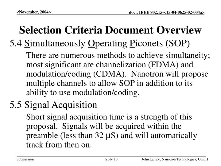 Selection Criteria Document Overview