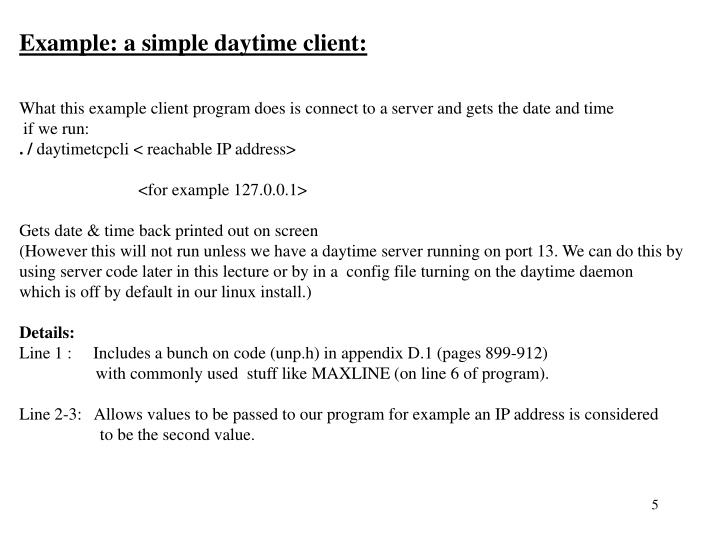 Example: a simple daytime client: