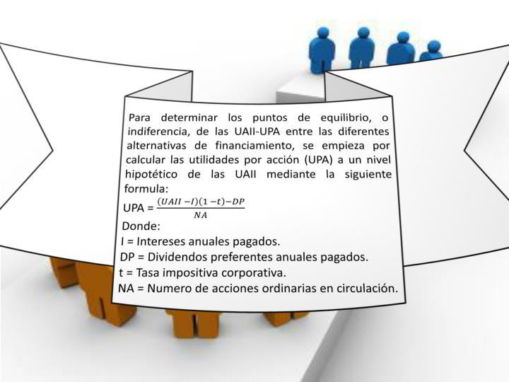 Para determinar los puntos de equilibrio, o indiferencia, de las UAII-UPA entre las diferentes alternativas de financiamiento, se empieza por calcular las utilidades por acción (UPA) a un nivel hipotético de las UAII mediante la siguiente formula: