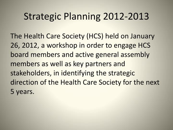 Strategic Planning 2012-2013