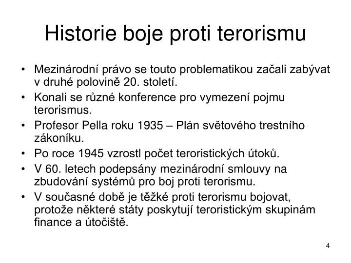 Historie boje proti terorismu
