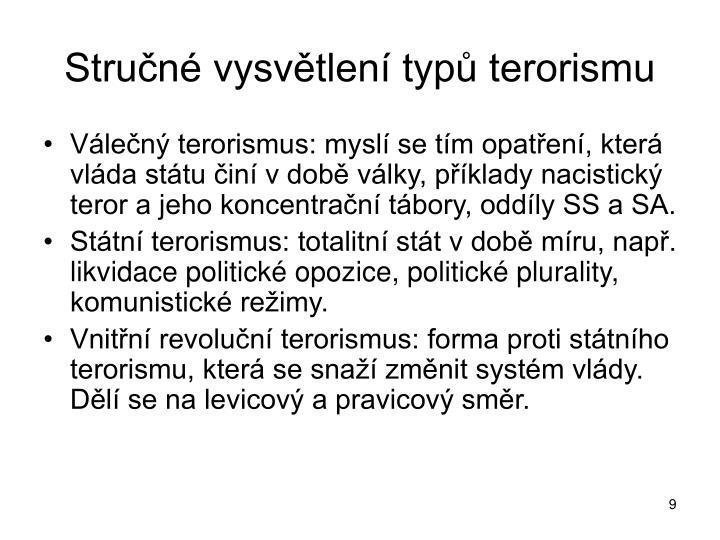 Stručné vysvětlení typů terorismu