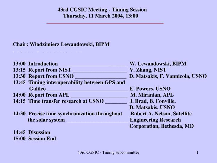 43rd CGSIC - Timing subcommittee