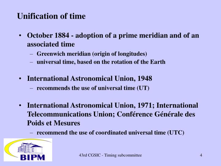 Unification of time