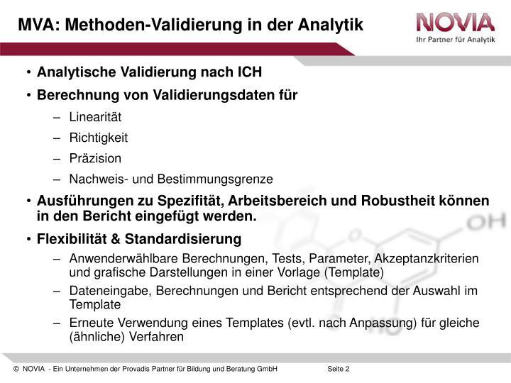 PPT - MVA 2.0 / 2.1: Methoden-Validierung in der Analytik Software ...