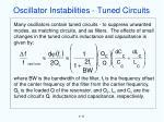 oscillator instabilities tuned circuits