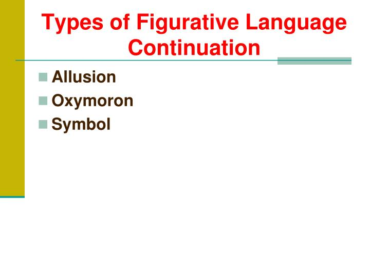 Types of Figurative Language Continuation