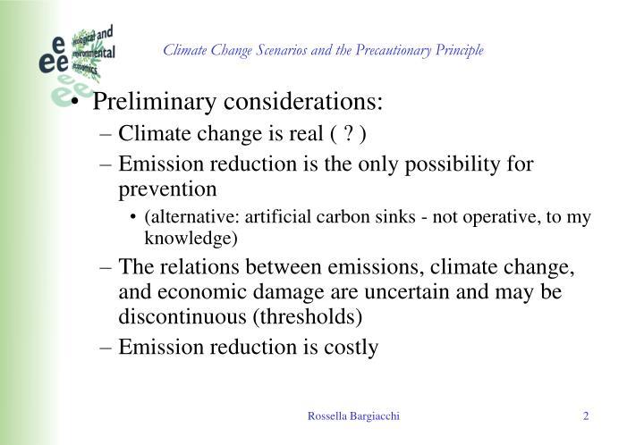 Climate change scenarios and the precautionary principle