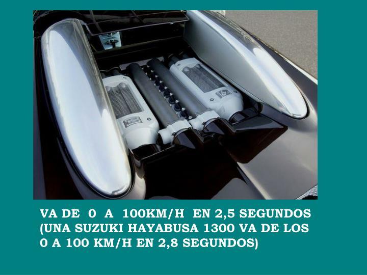 VA DE  0  A  100KM/H  EN 2,5 SEGUNDOS (UNA SUZUKI HAYABUSA 1300 VA DE LOS 0 A 100 KM/H EN 2,8 SEGUNDOS)
