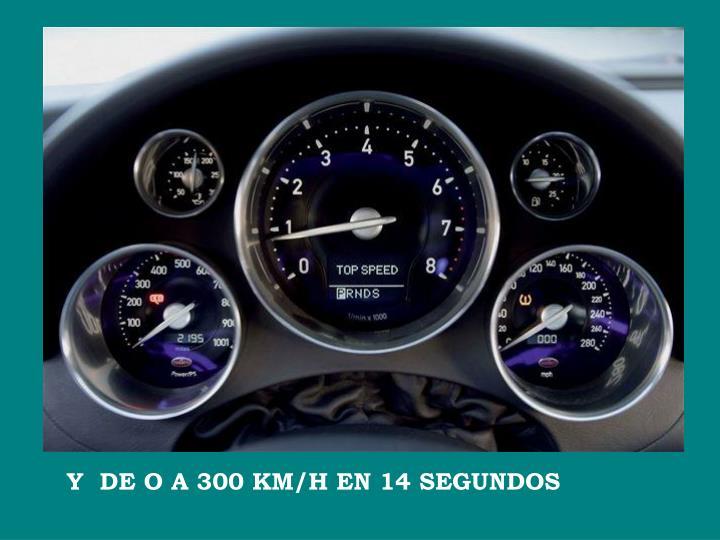 Y  DE O A 300 KM/H EN 14 SEGUNDOS