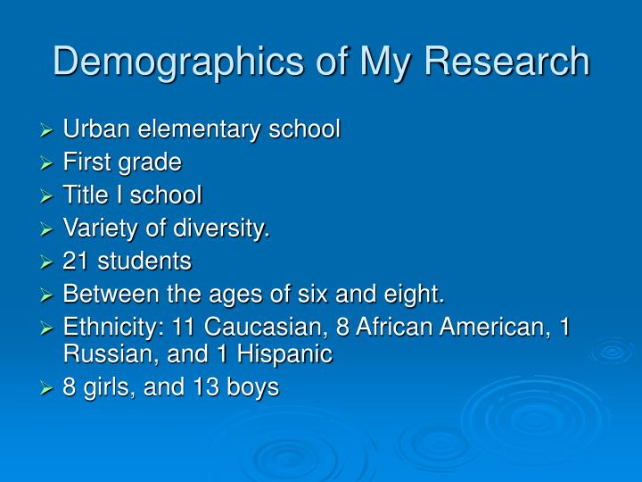 Demographics of My Research