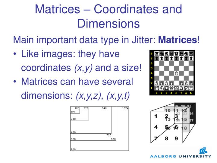 Matrices coordinates and dimensions