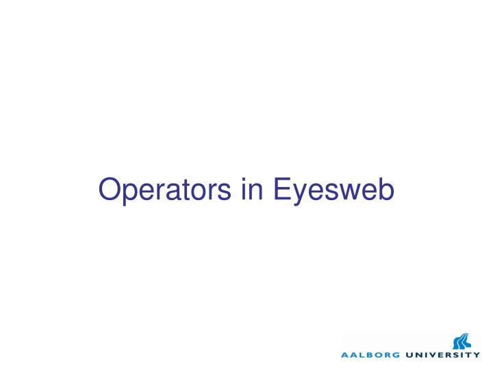 Operators in Eyesweb