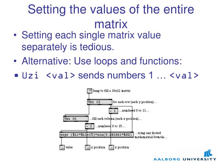 Setting the values of the entire matrix