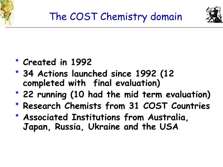 The COST Chemistry domain