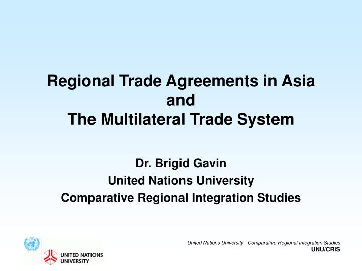 regional trade agreements in asia and the multilateral trade system n.