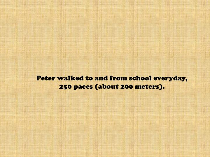 Peter walked to and from school everyday,