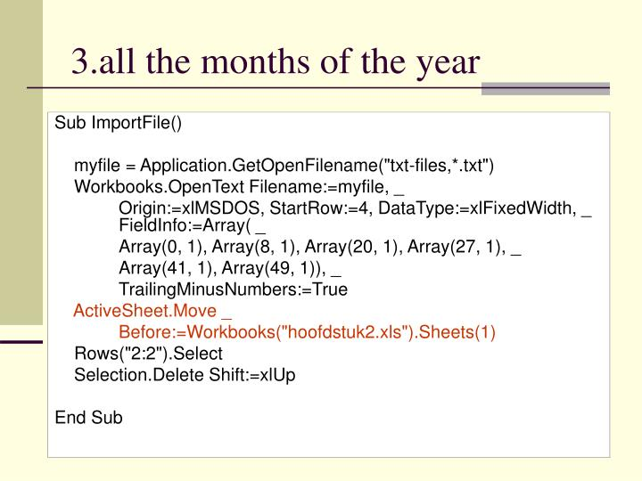 3.all the months of the year