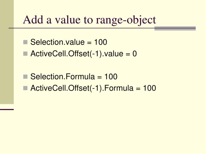 Add a value to range-object