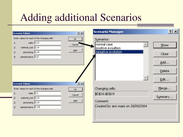 Adding additional Scenarios