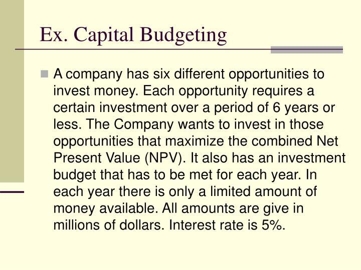 Ex. Capital Budgeting