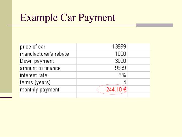 Example Car Payment